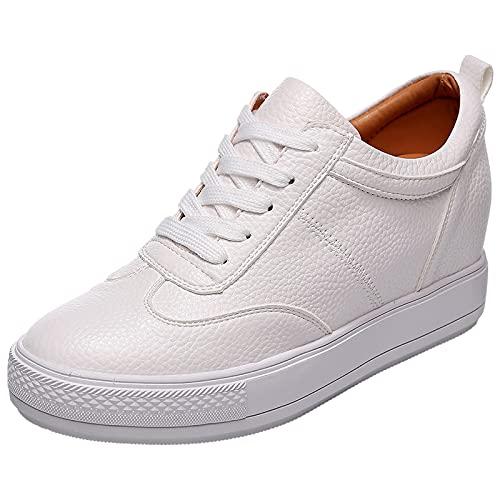 Jamron Mujer Suave Cuero de Imitación Talón de Cuña Oculta Zapatillas Confortable con Cordones Casual Zapatos de Deporte Blanco SN2520 EU36