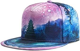 KLNOC Sun Hat Spring Summer 3D Space Print Baseball Caps Men Women Fashion Hip Hop Hats Adjustable 56-59Cm