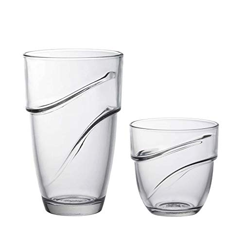Duralex Wave - Stapelbare Trinkgläser - Whiskeygläser 220 ml & Highballgläser 360 ml - 12 Stück
