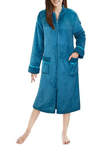 PAVILIA Premium Damen Plüsch-Bademantel mit Reißverschluss, flauschig, warm, Fleece - Blau - Small-Medium