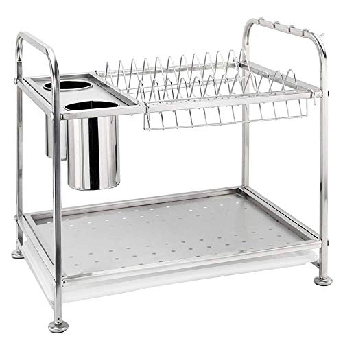 BEVANNJJ ZYY Drain Rack 2-Tier Rust Proof Stainless Steel Kitchen Dish Drying Rack, Chrome Dish Rack For Kitchen Dish Drainer (Color : Silver, Size : 42x28.2x36.8cm)