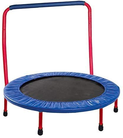 Kewltax Kids Trampoline Portable & Foldable Round 36 Inch for Toddler Durable Construction with Padded Frame Cover and Handle Bar - Red Blue