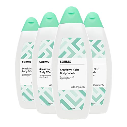 Amazon Brand - Solimo Body Wash for Sensitive Skin, 22 Fluid Ounce (Pack of 4)