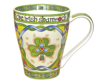 Royal Tara Irish Shamrock Coffee Cup with Celtic Knots Design- Bone China Tea Mug
