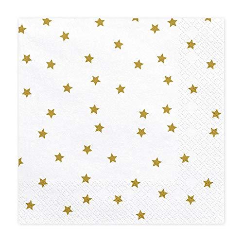 Premium Weddings Papierservietten weiß Sterne Gold 33 x 33 cm 20 Stück