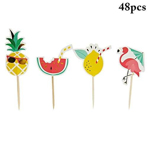 48 STKS Grappige Cake Decoratie Plugin Zomer Flamingo Ananas Watermeloen Citroen Invoegen Kaart Hawaiiaanse Partij Voedsel Decoratie