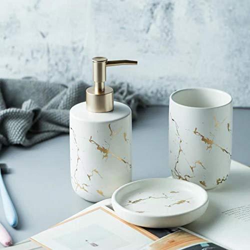 Keramik-Badezimmer-Set, 4-teiliges Badezimmer-Zubehör-Set, komplettes Set, Schminktisch-Zubehör-Set mit Seife/Lotionspender, Becher (weiß (3-teilig))