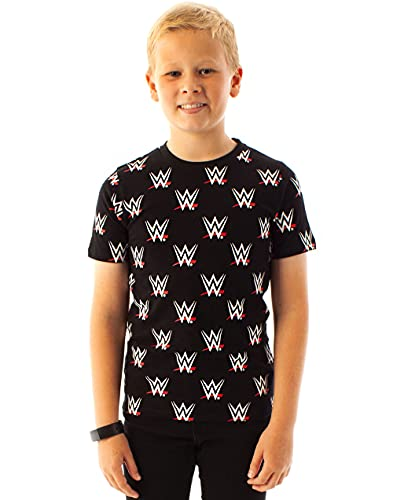 WWE Wrestling All Over Print Boys T-Shirt, Schwarz, 11-12 Jahre