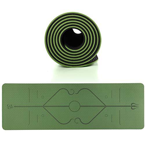 Esterilla Yoga, Deporte Colchoneta de Yoga Fitness Antideslizante con Material ecológico TPE con líneas corporales Yoga Mat para Entrenamiento y Entrenamiento físico,Bamboo cyan,183x61x0.8 cm