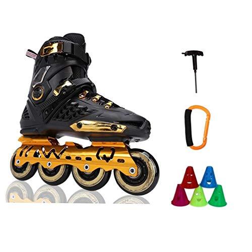 CAIFENG Men's Adult Fitness Inline Skates, Aluminum Alloy Bracket Detachable Lining Suitable for Women and Youth Black Gold,Size:39 EU/7 US/6 UK/24.5cm JP,Colour:D