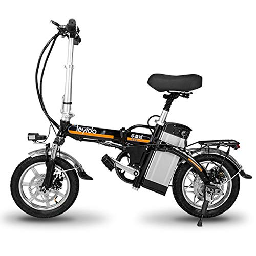 Elektrische fietsen 14 inch aluminium Smart Folding draagbare E-bike met 48 V lithium-ion accu E-bike 400 W krachtige motor maximale dubbele schokdempers bikes met schijfrem, zwart, 75 km