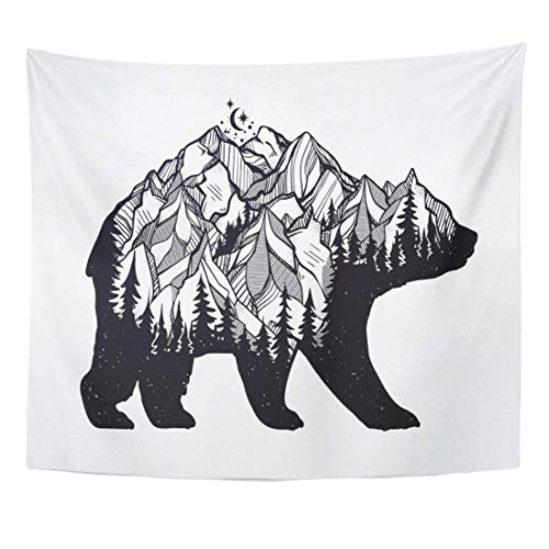 Seenpin Tapestry Double Exposure Bear with Nature Pine Forest Rocky Mountain Landscape Range and Moon Vintage Tattoo Home Decor Wall Hanging for Living Room Bedroom Dorm 50x60 Inches
