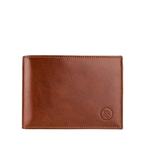 Maxwell Scott Leather Trifold Credit Card Wallet - Gallucio Tan