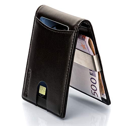 LØWENHERZ Kreditkartenetui Herren — Khan mit RFID Schutz und Geldklammer — Langlebiges Mini Wallet aus Premium Echtleder — 10 Kartenplätze inkl. Easy Access Fach in Schwarz