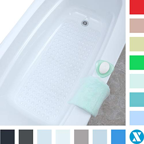 SlipX Solutions Il Tappetino da Bagno Extra Lungo aggiunge trazione Antiscivolo a vasche e docce - 30% in più Rispetto ai tappetini Standard! (200 Ventose, 99 cm di Lunghezza - Chiaro)