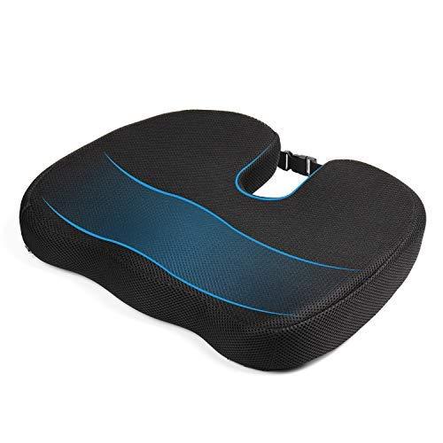 MonTrüe Back Cushion 404558 - Cojin de espuma con memoria para silla ergonomico, ortopedico para alivio de coxis, espalda inferior y ciática, para la oficina, silla de ruedas o viajes, Negro