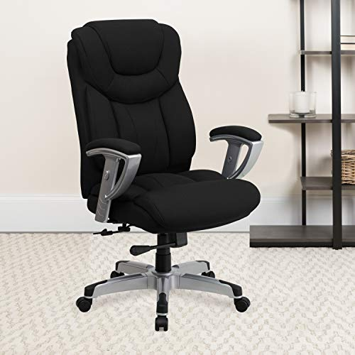 Flash Furniture HERCULES Series Big & Tall 400 lb. Rated Black Fabric Executive Ergonomic Office Chair with Silver Adjustable Arms