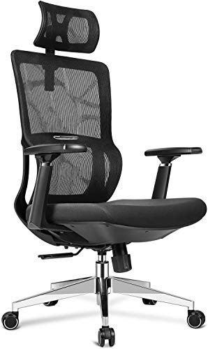 mfavour Bürostuhl Ergonomischer Schreibtischstuhl, Drehstuhl mit Verstellbarer Kopfstütze und 3D Armlehne, Höhenverstellung und Wippfunktion, Rückenschonend