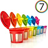 GoodCups 7 Reusable Rainbow Colors K Cups Refillable KCups Coffee Filters for...
