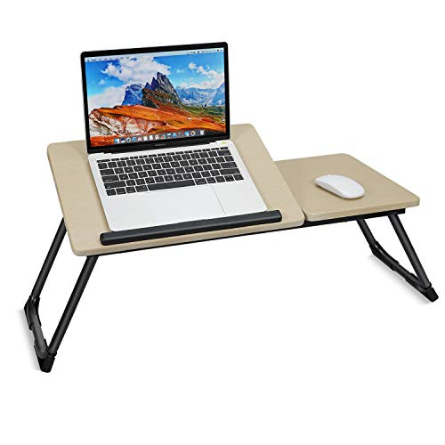 Adjustable Laptop Bed Table, Foldable Breakfast Coffee Serving Tray, Wood Lap Standing Desk with Foldable Legs, Notebook Stand Reading Holder for Couch Bed Floor Kids (70 x 30 cm)