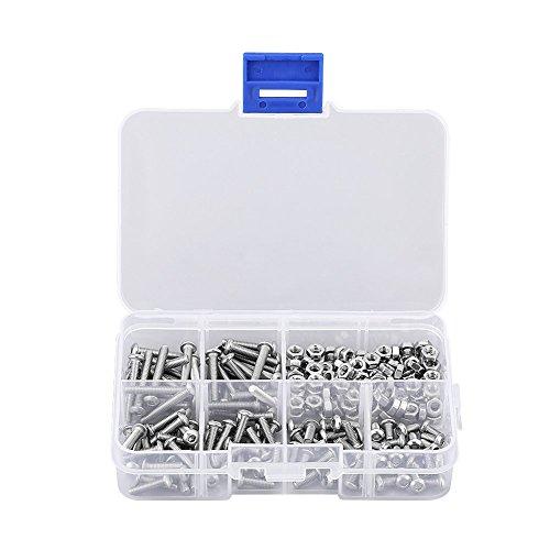 Dilwe 240Pcs Schrauben Set (M3), Innensechskant Knopf Rundkopf aus Edelstahl Schraube M3 Schraubenmutter Bolzen Verschluss 6mm/ 8mm/ 10mm/ 12mm/ 16mm/ 20mm/ 6 gängige Längen mit Aufbewahrungsbox