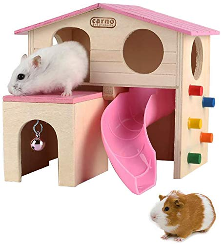 PINVNBY Hölzernes Hamsterhaus, Kleintierversteck Kletterleiter Rutsche Hütte Spielspielzeug für Streifenhörnchen, Mäuse, Ratten, Igel (Pink)