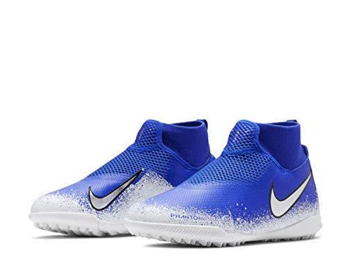 Nike Jr Phantom Vsn Academy DF TF, Zapatillas de fútbol Sala Unisex niño, Multicolor (Racer Blue/Chrome/White/Black 000), 32 EU