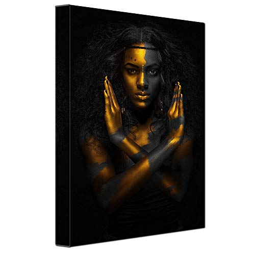 Black Fashion Woman Portrait Wall Art Picture for Girl Room Wall Decor Canvas Printed Easy to Hang 12x16inch