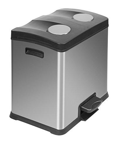 EKO Recycle Poubelle à Pédale Métal Inox 38,2 x 40,5 x 43,1 cm 12+12 litres