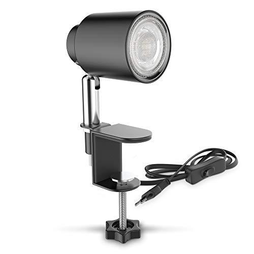 B.K.Licht LED Klemmleuchte inkl. 5W GU10 Leuchtmittel I Warmweiß I Schwenkbar I Neigbar I Kippschalter I Metall I Schwarz-Matt