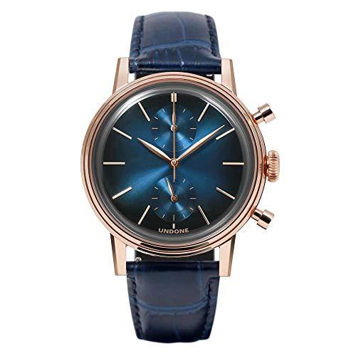Undone Herren Uhr Chronograph Quarz Hybrid Mechanische Edelstahl Leder Mystique Mercury
