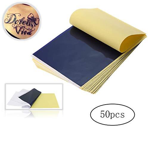 Hilai 50 Blatt Tattoo Transfer Papier Profi A4 Carbon Tattoo Matritzenpapier Pauspapier Transferpapier Schablone Selberdrucken