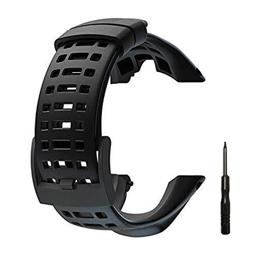 JTMM Reemplazo de Reloj de Goma Flexible,Suunto Ambit 1/2 / 2S / 2R / 3 Sport / 3 Run / 3 Peak -Banda de Reloj Premium Resistente al Agua 24 mm - Destornillador Incluido