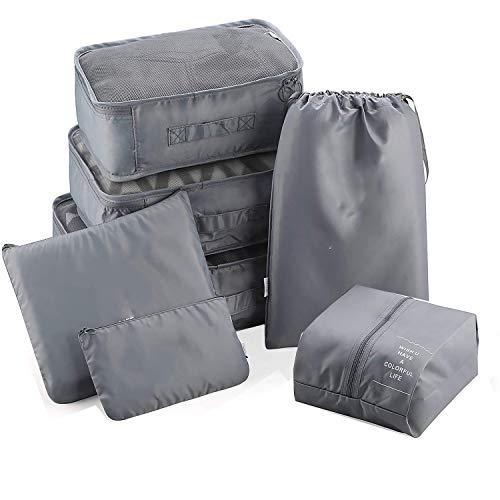 Koffer Organizer Set 7-delig, reistassen bagage organizer set, multifunctioneel gebruik, bagage-organizer voor kleding schoenen ondergoed cosmetica