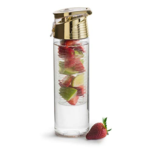 Sagaform Fresh Flasche mit Früchteeinsatz, Kunststoff, Gold, One Size