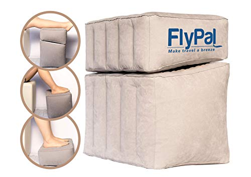 "Flypal Inflatable Foot Rest for Travel, Home and Office and Blow-Up Pillow Cushion for Kids to Sleep on Long Flights, 17""x11'x17', Grey"