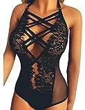 UONBOX Teddy Lingerie For Women Lace bodysuit Halter Deep V Strappy One Piece Babydoll Black L