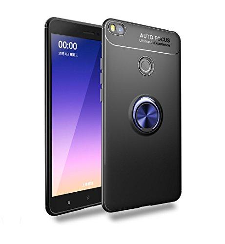 Capa para Xiaomi Mi Max 2, JYZR Xiaomi Mi Max 2 360 graus giratório, anel de dedo e suporte magnético para saída de ar para carro Xiaomi Mi Max 2, azul