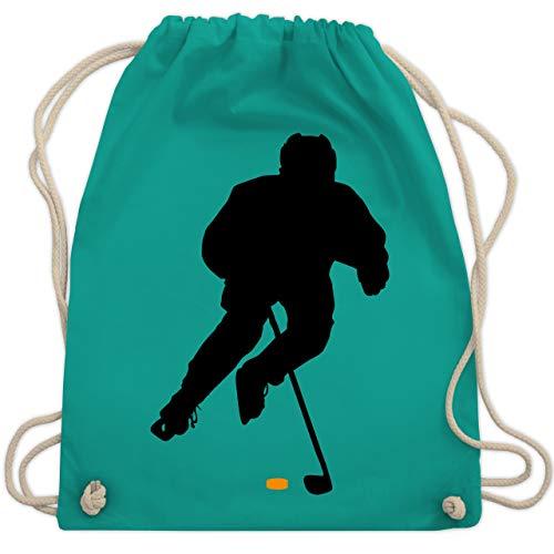 Shirtracer Eishockey - Eishockey Spieler - Unisize - Türkis - eishockey kinder trikot - WM110 - Turnbeutel und Stoffbeutel aus Bio-Baumwolle
