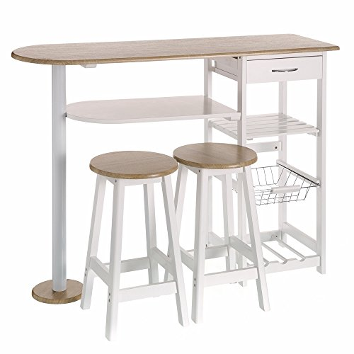 Lola Derek - Mesa de cocina bar moderna de madera blanca Basic