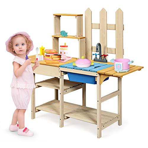 GOPLUS Kinderküche aus Holz, Küchenspielzeug mit Wasserhahn & Matschwanne, Matschküche für Garten, Kinderrollenspiele, für Mädchen & Junge, für Kinder ab 3 Jahre, Blau + Gelb