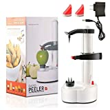 Electric Potato Peeler, Automatic Rotating Fruits & Vegetables Cutter Apple Paring Machine - Kitchen Peeling Tool with 2 Extra Blades (White)