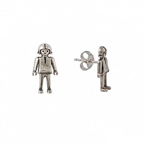Life is Laf - Pendientes Playmobil niña en plata de ley