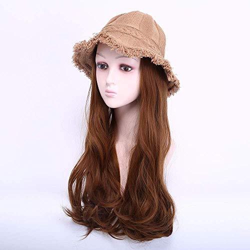 pruiken Pruik vrouwelijke wol gebreide muts hoed pruik een herfst- en wintermodellen vissershoed lang krullend haar pruik een stuk