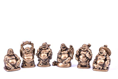 LHR trading inc Set of 6 Feng Shui Laughing Buddha Statue Figures Luck & Wealth 2 inches (Bronze)