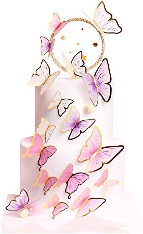 Keaziu Pack of 60 Butterfly Cupcake Toppers Cake Party Cake Decorations Mixed Colour for Birthday product image