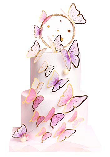 Keaziu Pack of 60 Butterfly Cupcake Toppers Cake Party Cake Decorations Mixed Colour for Birthday Wedding Party Wall Decoration Upgraded Version