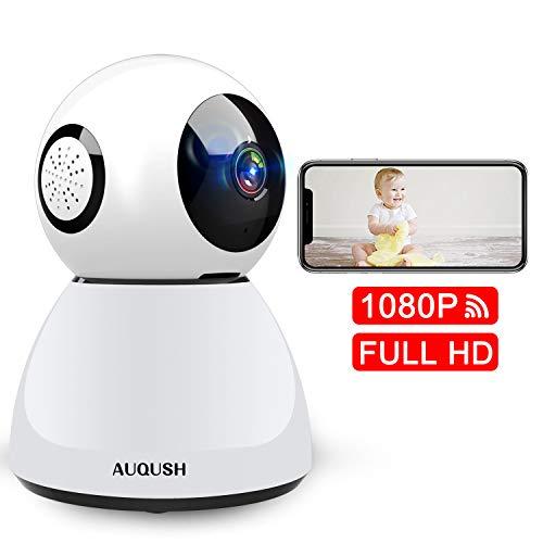 1080P Cámara IP WiFi Cámara de Vigilancia Interior Camaras de Seguridad Baby Monitor con Visión Nocturna Detección de Movimiento Full HD Audio Bidireccional (Blanco)