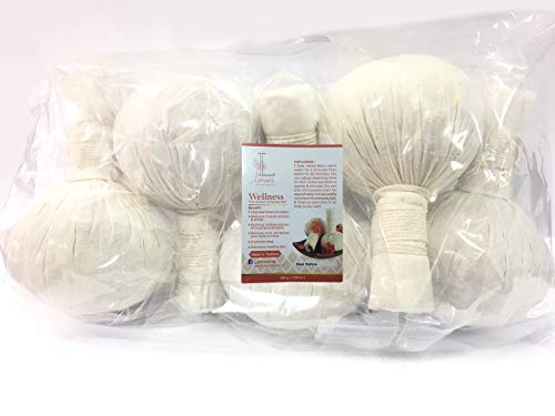 Lamoone Premium Thai Herbal Massage Ball, Aroma Compress Ball 100% Natural herb for Spa and Athletes (Pack of 5) 200g (7…