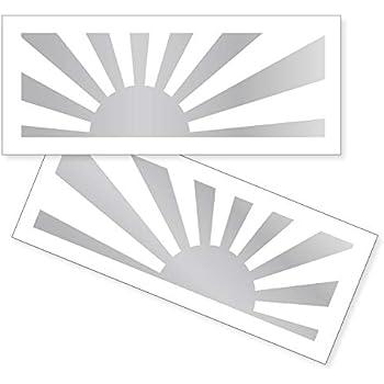 nc-smile Japan 旭日旗 日本 ジャパン ステッカー Asahi flag Rising Sun ライジングサン 太陽 (シルバー, Sサイズ 30×87mm)